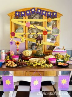 Rapunzel Birthday Party Food Table, decor, party favors, and more