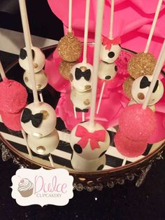 Amazing cake pops at a Kate Spade birthday party! See more party ideas at CatchMyParty.com!