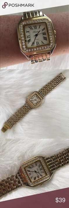 Classic gold rhinestone watch Very expensive, classy look. Good working condition. Ships with extra links. Accessories Watches