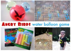 Angry Birds game - wash the chalk piggies away with water balloons.