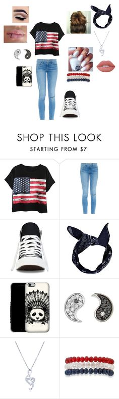 """Red, White, and Blue random"" by hannah-013 ❤ liked on Polyvore featuring Chicnova Fashion, Frame, Converse, Boohoo, Sydney Evan, BERRICLE, Kim Rogers and Lime Crime"
