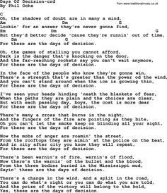 Phil Ochs song Days Of Decision- by Phil Ochs, lyrics and chords
