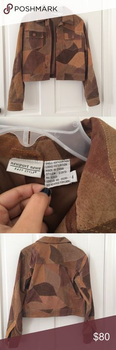 Vintage leather jacket Super unique and amazing vintage 100% leather jacket by Newport News. The detail and patchwork of leather on this jacket is outstanding!!! Many colors of different brown leather. For being a vintage item, this piece is in great condition, no visible flaws. Size 4 which is small. Get this in your closet before winter!!!! Newport News Jackets & Coats