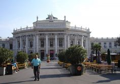 This photo shows the Burgtheater. It was closed at the moment and not a lot of people were there visiting.