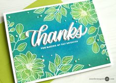 Jennifer McGuire: Simon Says Stamp Even More Spring Flowers stamp set and Big Thanks Words stamp set and die set; Distress Oxide Water Painting; Video