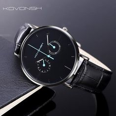 KOVONSH Fashion Genuine Leather Men Watches Men's Watch Business Gentleman Watch Gifts Present Dropshipping With Little Needle Mens Watches Under 200, Cheap Watches For Men, Stylish Watches, Cool Watches, Black Watches, Best Mens Luxury Watches, Best Affordable Watches, Gentleman Watch, Moda Emo