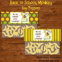 Back to School Monkey – BAG TOPPERS ------------------------------------------------------ WHAT'S INCLUDED WITH PURCHASE ------------------------------------------------------ PDF file with  - 1 printable sheet that has 2 bag toppers that can be printed as many times as you want. Just print...