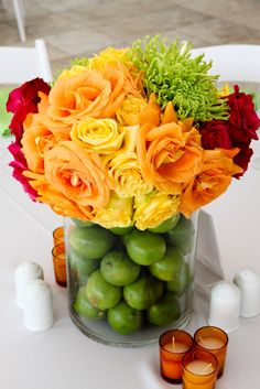Colorful centerpiece by Renee Landry Style.