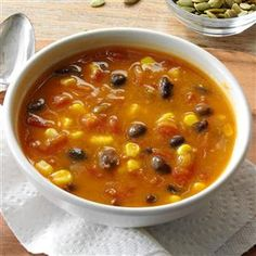 Spicy Pumpkin & Corn Soup Recipe -A seriously quick dish, it can satisfy a hungry household in 15 minutes. My family loves sharing this soup with cornbread, or you can add a zesty kick with some Rotel. — Heather Rorex, Winnemucca, Nevada