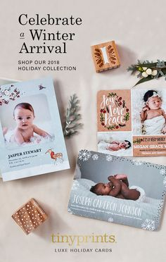 For holiday birth announcements, cozy up to adorable themes of the season, from woodland animals to first snowflakes. Shop unique birth announcements to find one that suits your style.