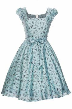 Blue Bird Swing Dress - Lady Vintage
