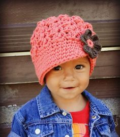 Crochet Baby Hat, kids hat, newsboy hat, newborn-preteen size, custom colors, visor-brim hat, hat with flower . Family photo shoot - coordin...