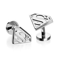 Silver Superman Shield Cufflinks by Cufflinks Inc