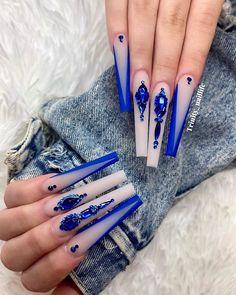 Gold Acrylic Nails, Blue Coffin Nails, Long Square Acrylic Nails, Acrylic Nails Coffin Short, Bling Nails, Swag Nails, Prom Nails, Glitter Nails, Cute Acrylic Nail Designs