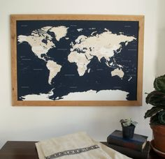 world push pin travel map in handcrafted wood frame by wayfaren