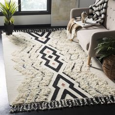 Shop Safavieh Hand-knotted Kenya Carleigh Southwestern Tribal Wool Rug - On Sale - Overstock - 18732090 - x - Ivory/Black Wool Area Rugs, Blue Area Rugs, Blue Rugs, Wool Rugs, Kilim Rugs, Southwestern Area Rugs, Southwestern Style, Blue Wool, Online Home Decor Stores