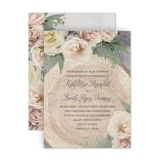 Affordable inviting and gorgeous floral details! This wedding invitation features blush roses and woodland touches. Your wedding invitation wording is printed in the fonts and text color of your choice on rustic woodgrain. The background color (shown purple) can be updated to suit your style. This double-sided design also lets you add text to the backside. Share details about your wedding reception, website and more. Mailing envelopes are included. Wedding Invitation Wording, Floral Wedding Invitations, Woodland, Four O Clock, Mailing Envelopes, Rustic Wedding Inspiration, Blush Roses, Text Color, Country Chic