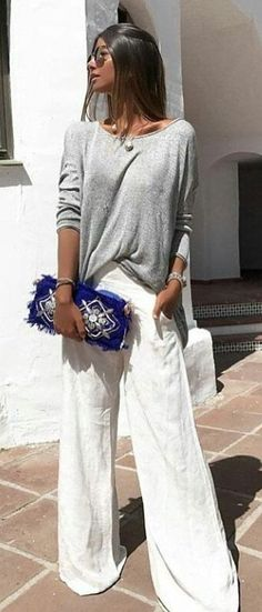 #summer #outfits Grey Top + White Pants