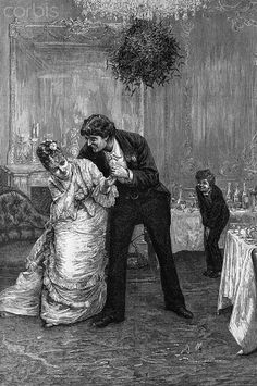 Inch Print (other products available) - A boy watches gleefully as a man tries to steal a kiss from a young woman under the Christmas mistletoe, circa (Photo by Hulton Archive/Getty Images) - Image supplied by Fine Art Storehouse - print made in the UK Fine Art Prints, Framed Prints, Canvas Prints, Boys Watches, Mistletoe, A0 Poster, Heritage Image, Gloss Matte, Fine Art Paper