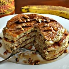 The whole grain banana pecan pancakes are a great for breakfast, lunch or dinner.