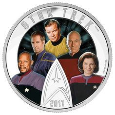 Star Trek(TM): Five Captains - 2 oz. Pure Silver Coloured Glow-in-the-Dark Coin - Mintage: 5,000 (2017)