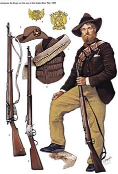General Joubert, bought Mauser magazine rifles, firing smokeless ammunition, and a number of modern field guns and automatic weapons from the German armaments manufacturer Krupp, the French firm Creusot and the British company Maxim. Military Art, Military History, Army Uniform, Military Uniforms, Le Far West, British Colonial, British Army, African History, American Civil War