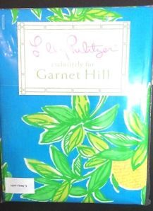 Lilly Pulitzer Shower Curtain Lemon Turquoise 72 x72 Exclusively For Garnet Hill #pulitzer