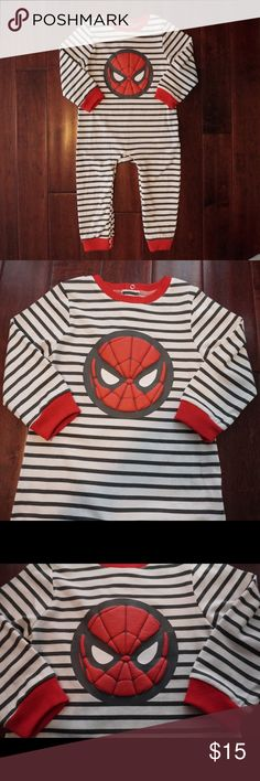 NWOT- Marvel Spider-Man White and Gray Striped Pjs New without tags. Never been worn or washed. White with grey stripes. Red trim. Snap buttons run up legs. 3 buttons in the back. Bundle in my closet and save! Marvel Pajamas