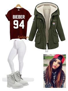 """2016, Justin concert"" by megan-somers ❤ liked on Polyvore featuring Justin Bieber and Timberland"