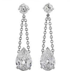 Preowned Diamond Platinum Drop Ear Pendants ($24,388) ❤ liked on Polyvore featuring jewelry, earrings, accessories, orecchini, multiple, diamond earrings, chain earrings, long diamond earrings, diamond jewelry and diamond pendant earrings