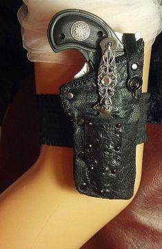 Steampunk gun garter with throwing knife. Wedding by LiverandMonk, $35.00