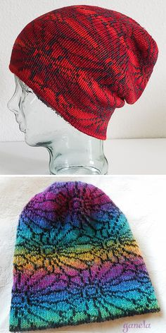 Free Knitting Pattern for Chrysanthemum Hat - Slouchy, double-knitted hat, making it reversible, with an all-over flower design. Perfect for multi-color yarn. Designed by Mirielgw. Pictured projects by the designer and ganela. Knit Or Crochet, Double Crochet, Crochet Hats, Crochet Ideas, Double Knitting Patterns, Knit Patterns, Knitting Blogs, Lace Knitting, Tejido Fair Isle