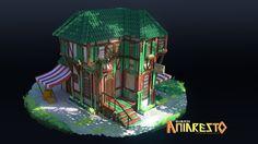 Aniaresto: Townsman's House, Espen Olsen Sætervik on ArtStation at… Fantasy Village, Fantasy Town, 3d Fantasy, Fantasy Landscape, Environment Concept Art, Environment Design, Game Environment, Prop Design, Game Design