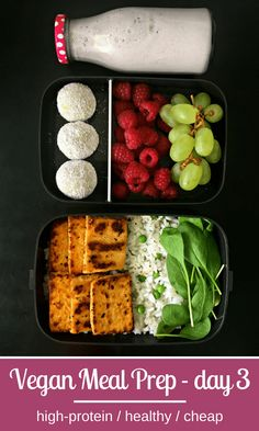 High-Protein Vegan Meal Prep for Weight Loss Vegan Grilled.-- High-Protein Vegan Meal Prep for Weight Loss Vegan Grilled Tofu with Brown Rice, Coconut-Almond Protein Bites Meal Prep High Protein Vegan Recipes, Vegan Foods, Diet Recipes, Healthy Recipes, Egg Recipes, Cookie Recipes, Chicken Recipes, Oats Recipes, Vegan Meal Plans