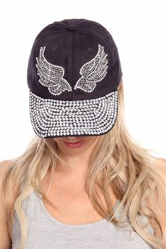 26fdc668339e2 Black baseball cap features sliver rhinestone wing design the brim is fully  covered in sliver rhinestones. Order yours today at www.lollicouture.com   Black ...