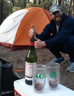 Pro tip: Before leaving, pack up some pre-mixed manhattans or other emergency cocktails before car camping for a warmer on a cold early spring night. #campingcocktail