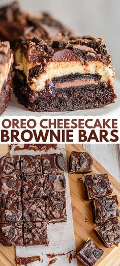 Oreo Cheesecake Brownie Bars - This Oreo Cheesecake Brownie Bars Recipe is the ultimate chocolate lovers dessert. These bars have a brownie bottom, chocolate-filled Oreos, a creamy vanilla cheesecake, and topped with a silky chocolate ganache all in one sliceable dessert. They're the perfect decadent cheesecake bar recipe to serve up! #cookiedoughandovenmitt #desserts #brownies Cheesecake Brownie Bars, Peppermint Cheesecake, Oreo Brownies, Best Brownies, Oreos, Cheescake Bars, Chocolate Filling, Chocolate Lovers, Chocolate Ganache