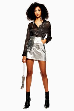 c6b7a6f78 Carousel Image 0 Metallic Skirt Outfit, Silver Metallic Skirt, Skirt  Outfits, Dress Skirt