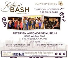 The annual Sassy City Holiday   Sale at the Peterson Thursday, November 1st, 5pm-10pm. Watch for our alert www.BargainsLA.com