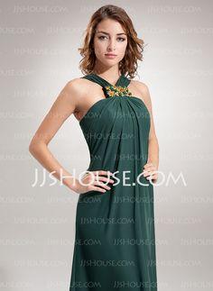 Tubo Decote V Vestidos longo Tecido de seda Vestidos de festa com Pregueado Bordado (017002609)