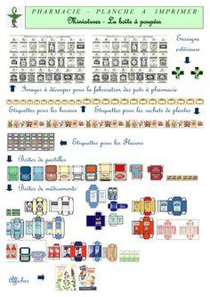 Imprimable thème pharmacie La Boite à poupées http://laboiteapoupees.free.fr/contenu/impboucherie.htm
