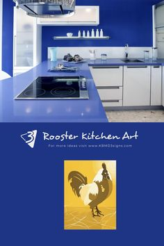 The royal #bluekitchen is complemented by #yellowwallart #yellowrooster #modernkitchen #kbmd3signs