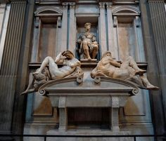 Florence, Italy:  Museum of Medici Chapels  Michelangelo    Tomb of Giuliano Duke of Nemours  with the statues of Night and Day