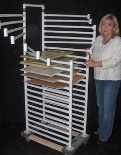 Storage or drying rack garage workshop, pvc pipe storage, fabric storage, craft storage Pvc Pipe Storage, Diy Storage Rack, Art Storage, Paper Storage, Storage Ideas, Fabric Storage, Fabric Organizer, Wood Storage, Art Studio Storage