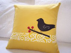 Decorative Pillow Throw Cushion Cover Pillows Gold Accent Pillow Cover Gold Black Bird Red Buttons 16. $20.00, via Etsy.