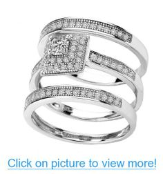 Princess Cut Cubic Zirconia Sterling Silver platinum plated 3Pc Engagement Wedding Ring Set Available in sizes 5 to 8