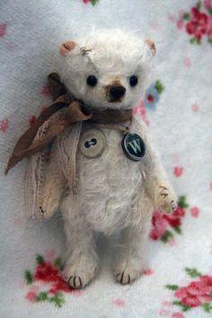 Ooak shabby chic miniature bear - Mr. White. $65.00, via Etsy.
