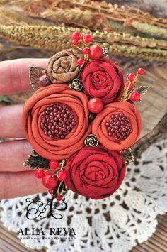 """Купить Брошь """"Терракота"""" - комбинированный, терракотовый, брошь, текстильная брошь, брошь цветок, цветы из ткани"""