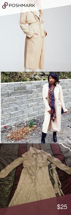 Forever21 Trench Draped Coat Worn once! Needs to be ironed or steam pressed! Great condition! This coat comes to my knees. Selling because it's too hot to wear in the climate I now live. Taupe/Tan color. Nice coat to wear in the fall! 🍂 Forever 21 Jackets & Coats Trench Coats