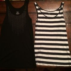 Fitted tanks Good condition. Black one has Rhine stones. Brand is Mossimo. Striped is gray and white. Brand is LOFT. LOFT Tops Tank Tops